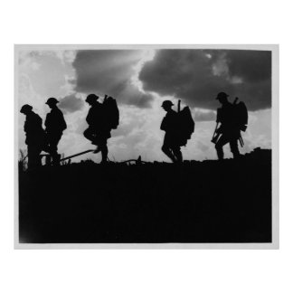 Silhouetted Marching World War I Soldiers (1917) Poster