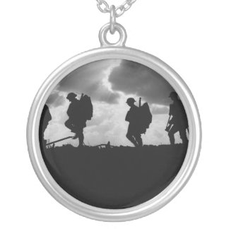 Silhouetted Marching World War I Soldiers (1917) Silver Plated Necklace