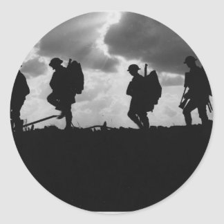 Silhouetted Marching World War I Soldiers (1917) Sticker