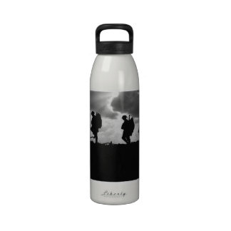 Silhouetted Marching World War I Soldiers (1917) Reusable Water Bottles