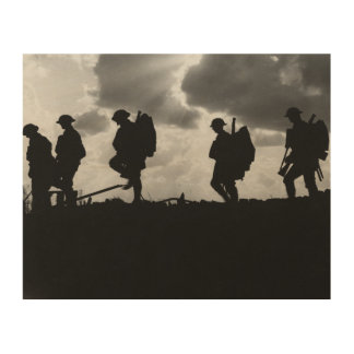 Silhouetted Marching World War I Soldiers (1917) Wood Wall Art