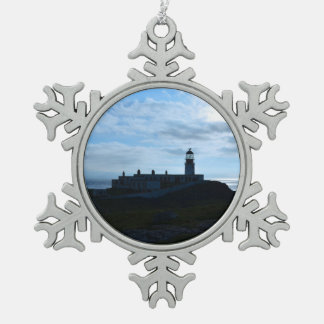 Silhouetted Neist Point Lighthouse Snowflake Pewter Christmas Ornament