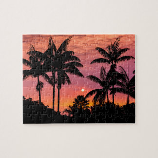 Silhouetted palm trees, Hawaii Jigsaw Puzzle