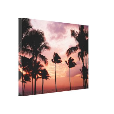 Beach Themed Silhouetted Palm Trees Orange Sky Canvas Print