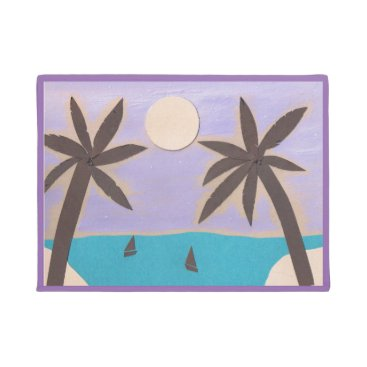 Designs_by_Dale Silhouetted Palms and Lavender Sky Doormat