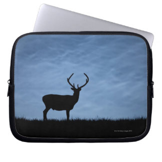 Silhouetted Red Deer Stag at Night Laptop Sleeve