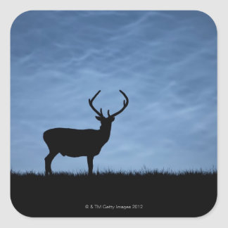 Silhouetted Red Deer Stag at Night Sticker