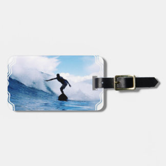Silhouetted Surfer Luggage Tag