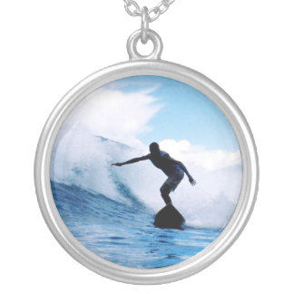Silhouetted Surfer Sterling Silver Necklace