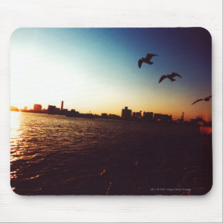 Silhouetted Tokyo Bay skyline at sunset Mouse Pad