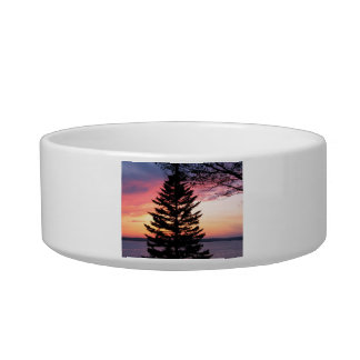 Silhouetted Tree at Sunset Cat Bowls