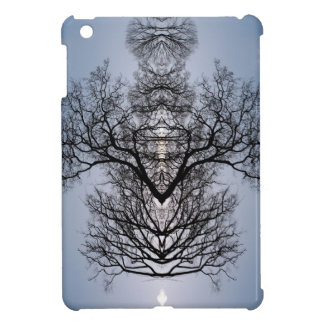 Silhouetted tree pattern and blue sky iPad mini cover