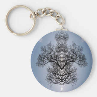 Silhouetted tree pattern and blue sky keychain