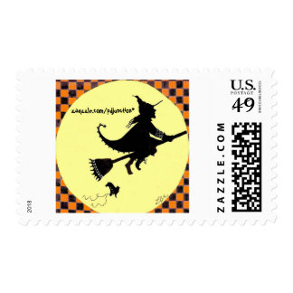 Silhouetted Witch on Broom Postage Stamp