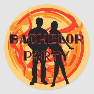 Silhouettes Bachelor Party Tshirts and Gifts Classic Round Sticker
