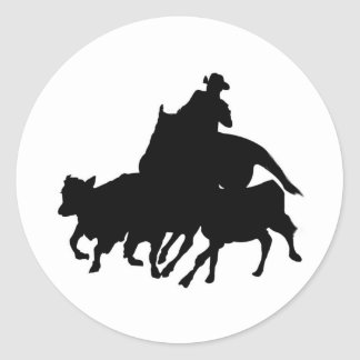 Silhouettes - Horses - Team Penning Classic Round Sticker