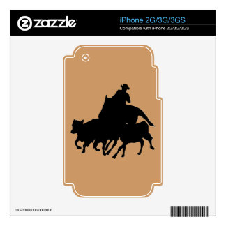 Silhouettes - Horses - Team Penning iPhone 2G Skin