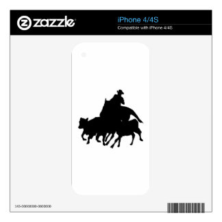 Silhouettes - Horses - Team Penning iPhone 4S Skin