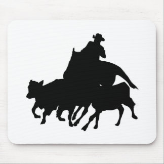 Silhouettes - Horses - Team Penning Mousepads