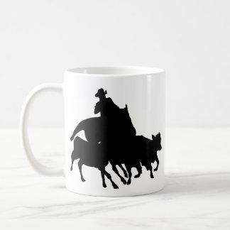 Silhouettes - Horses - Team Penning Classic White Coffee Mug