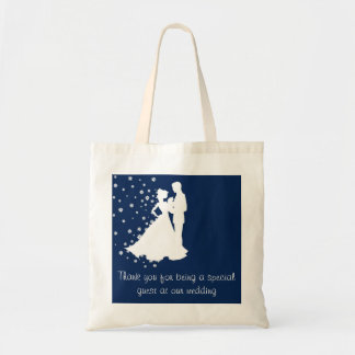 Silhouettes Navy Blue Wedding Canvas Bag