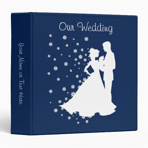 Silhouettes Navy Blue Wedding Vinyl Binders