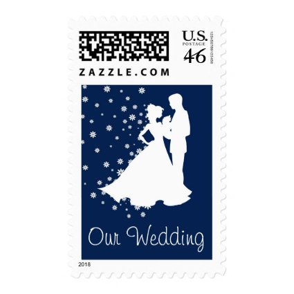 Silhouettes Navy Blue Wedding Postage Stamp