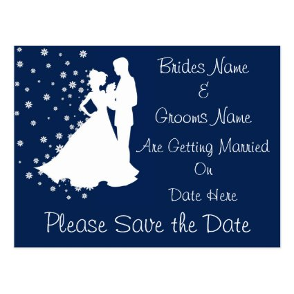Silhouettes Navy Blue Wedding Save The Date Postcard