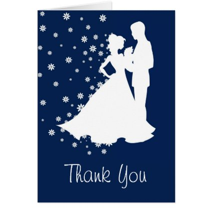 Silhouettes Navy Blue Wedding Thank You Greeting Card