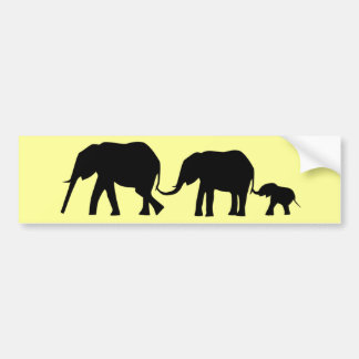 Silhouettes of 3 Elephants Holding Tails Bumper Sticker