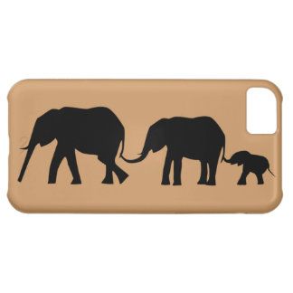 Silhouettes of 3 Elephants Holding Tails iPhone 5C Cover