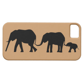 Silhouettes of 3 Elephants Holding Tails iPhone SE/5/5s Case