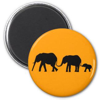 Silhouettes of 3 Elephants Holding Tails Fridge Magnet