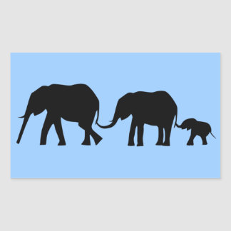 Silhouettes of 3 Elephants Holding Tails Rectangle Stickers