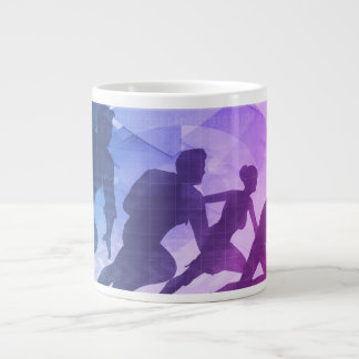 Silhouettes of Business People with Teamwork Large Coffee Mug