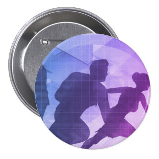 Silhouettes of Business People with Teamwork Pinback Button