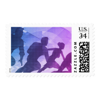 Silhouettes of Business People with Teamwork Postage