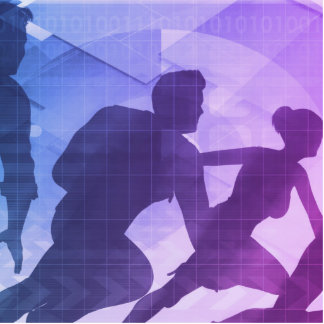 Silhouettes of Business People with Teamwork Statuette