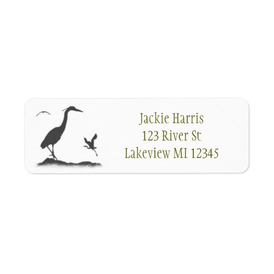 Silhouettes of Great Blue Heron Label