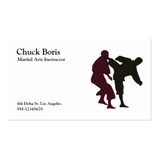 Silhouettes of Martial Artists During a Fight Business Card Template