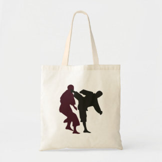 Silhouettes of Martial Artists During a Fight Tote Bag