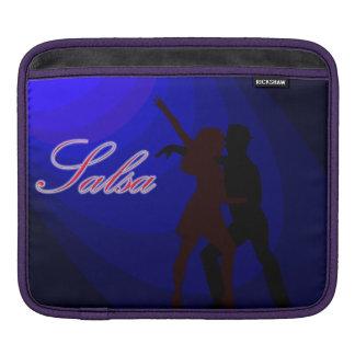 Silhouettes of Salsa dancers, blue tones back iPad Sleeves