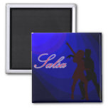 Silhouettes of Salsa dancers with blue background 2 Inch Square Magnet