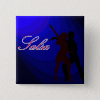 Silhouettes of Salsa dancers with blue background Button