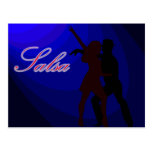 Silhouettes of Salsa dancers with blue background Post Cards