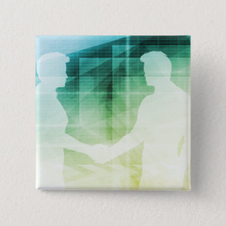Silhouettes of Two Businessman Shaking Hands Art Button