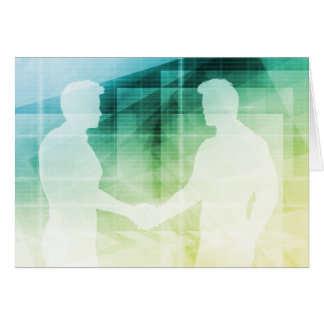 Silhouettes of Two Businessman Shaking Hands Art Card