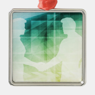 Silhouettes of Two Businessman Shaking Hands Art Metal Ornament