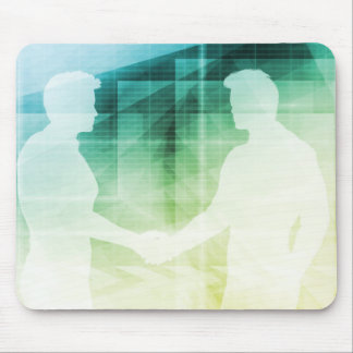 Silhouettes of Two Businessman Shaking Hands Art Mouse Pad