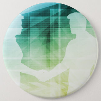 Silhouettes of Two Businessman Shaking Hands Art Pinback Button